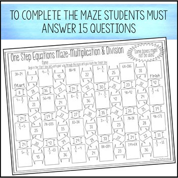 One Step Equations Multiplication Worksheet E Step Equations Multiplication & Division Maze