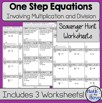 One Step Equations Multiplication Worksheet E Step Equations Multiplication and Division Scavenger Hunt Worksheets