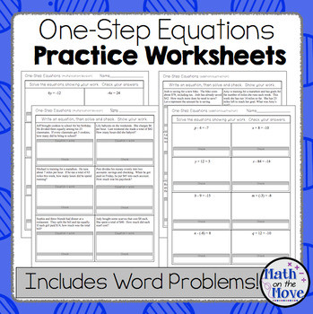 One Step Equations Multiplication Worksheet E Step Equations Worksheets Including Word Problems