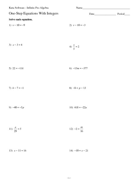 One Step Equations Multiplication Worksheet solve E Step Equations with Smaller Values Old Math