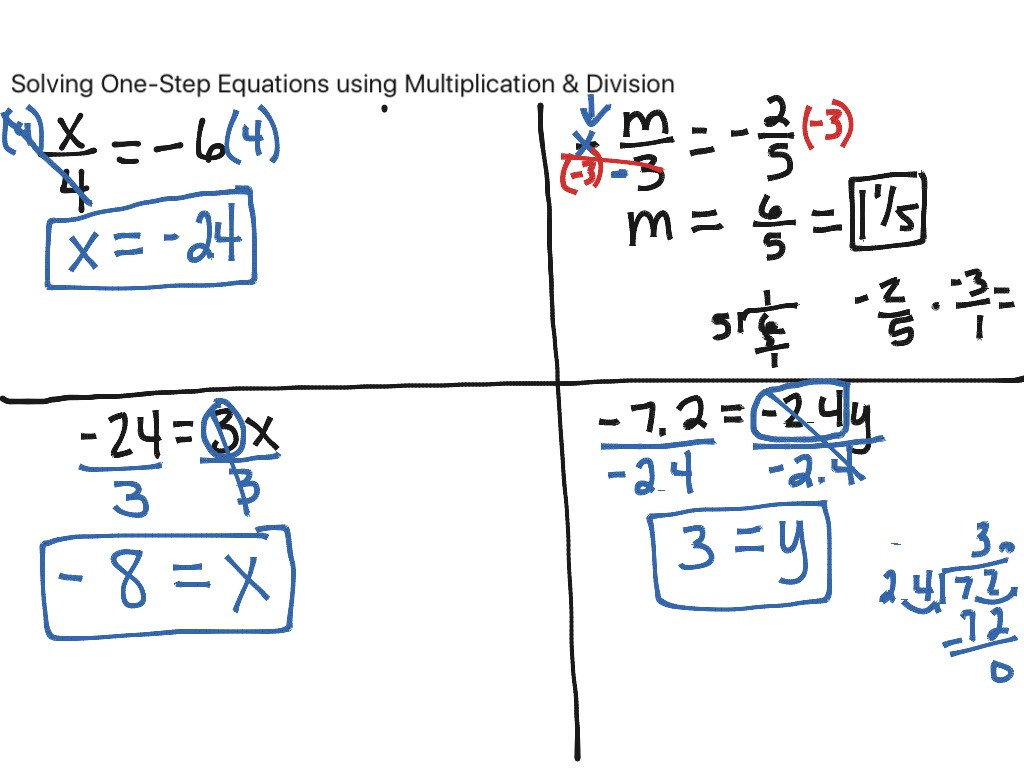 One Step Equations Multiplication Worksheet solving E Step Equations Using Multiplication & Division