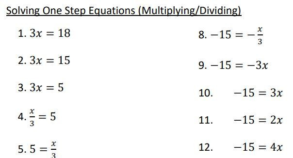 One Step Equations Multiplication Worksheet solving Equations – Minimally Different