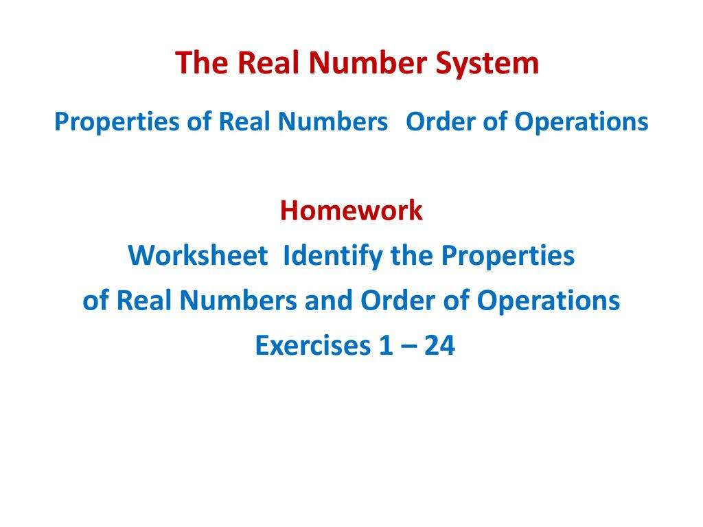 Operations with Real Numbers Worksheet the Real Number System Opening Routine Ppt