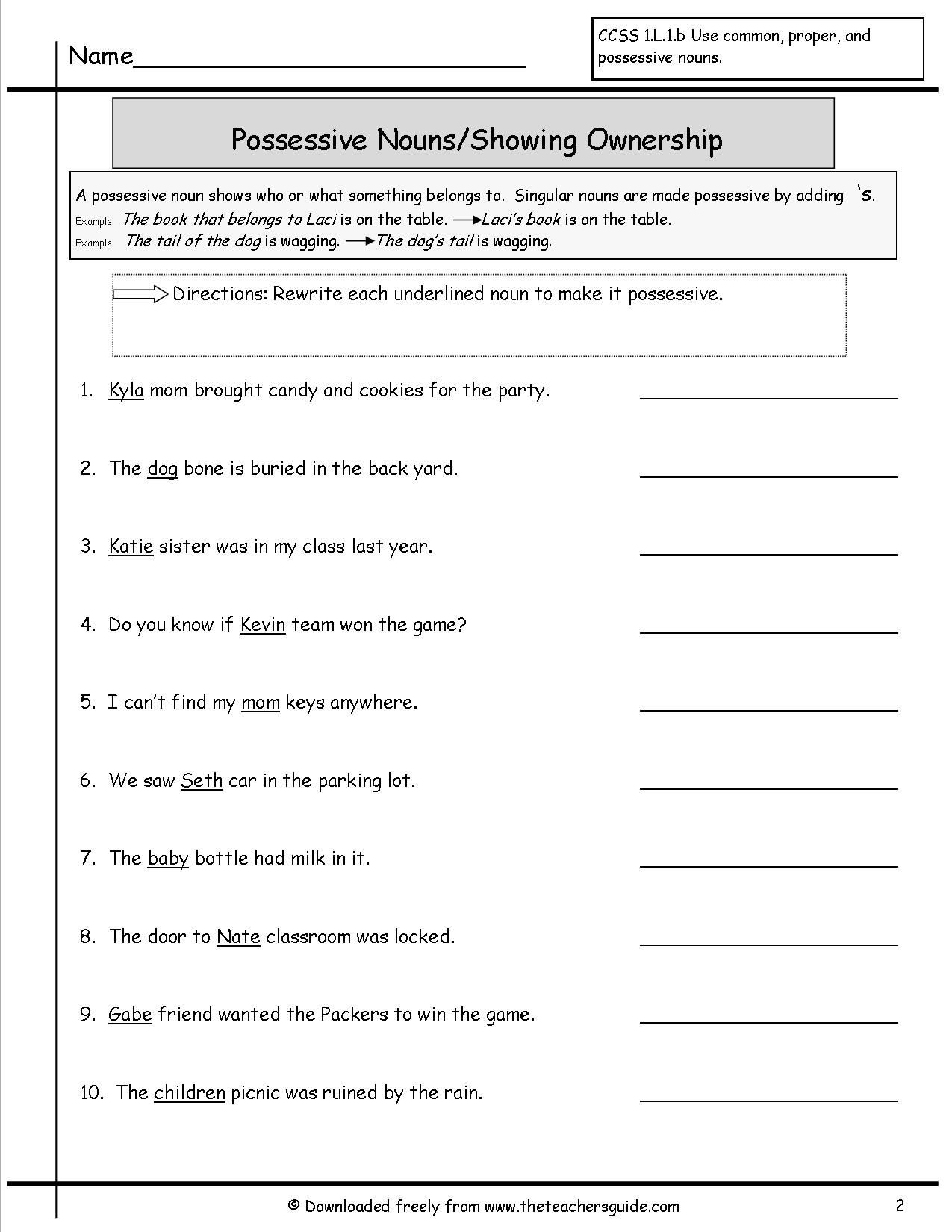 Possessive Nouns Printable Worksheets Possessive Nouns Worksheet