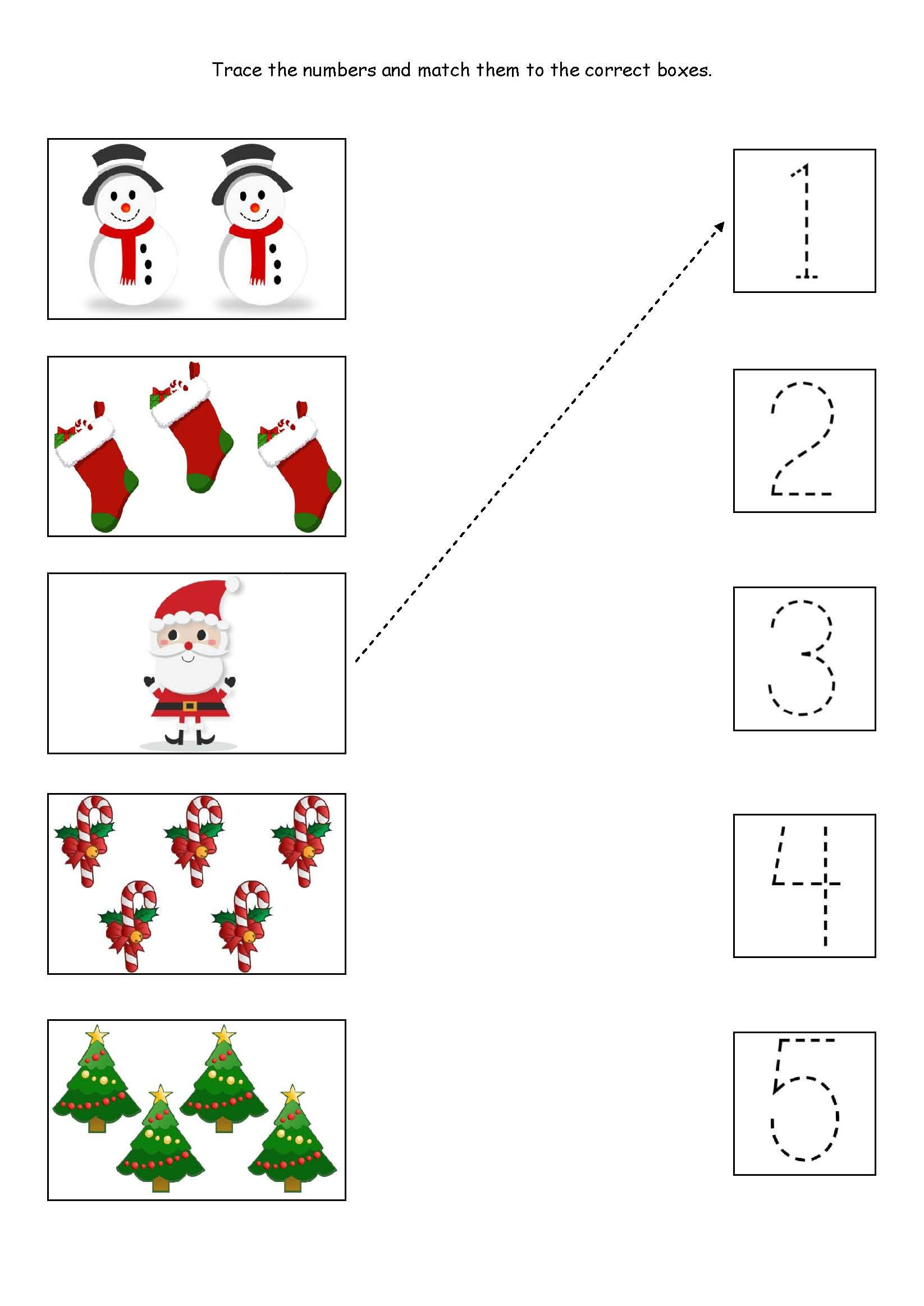 Preschool Christmas Worksheet Printables Cute Little Christmas Counting Matching and Tracing