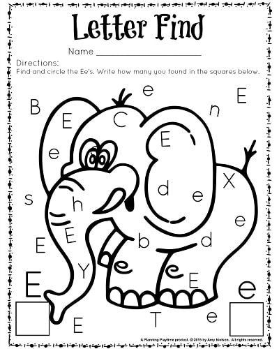 Preschool Letter E Worksheet Cute Letter Find Worksheets with A Freebie Planning