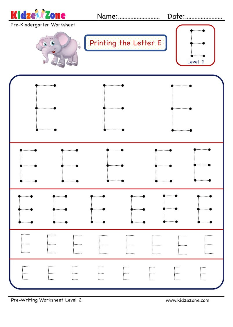 Pre Writing Letter E Tracing worksheet Different Sizes