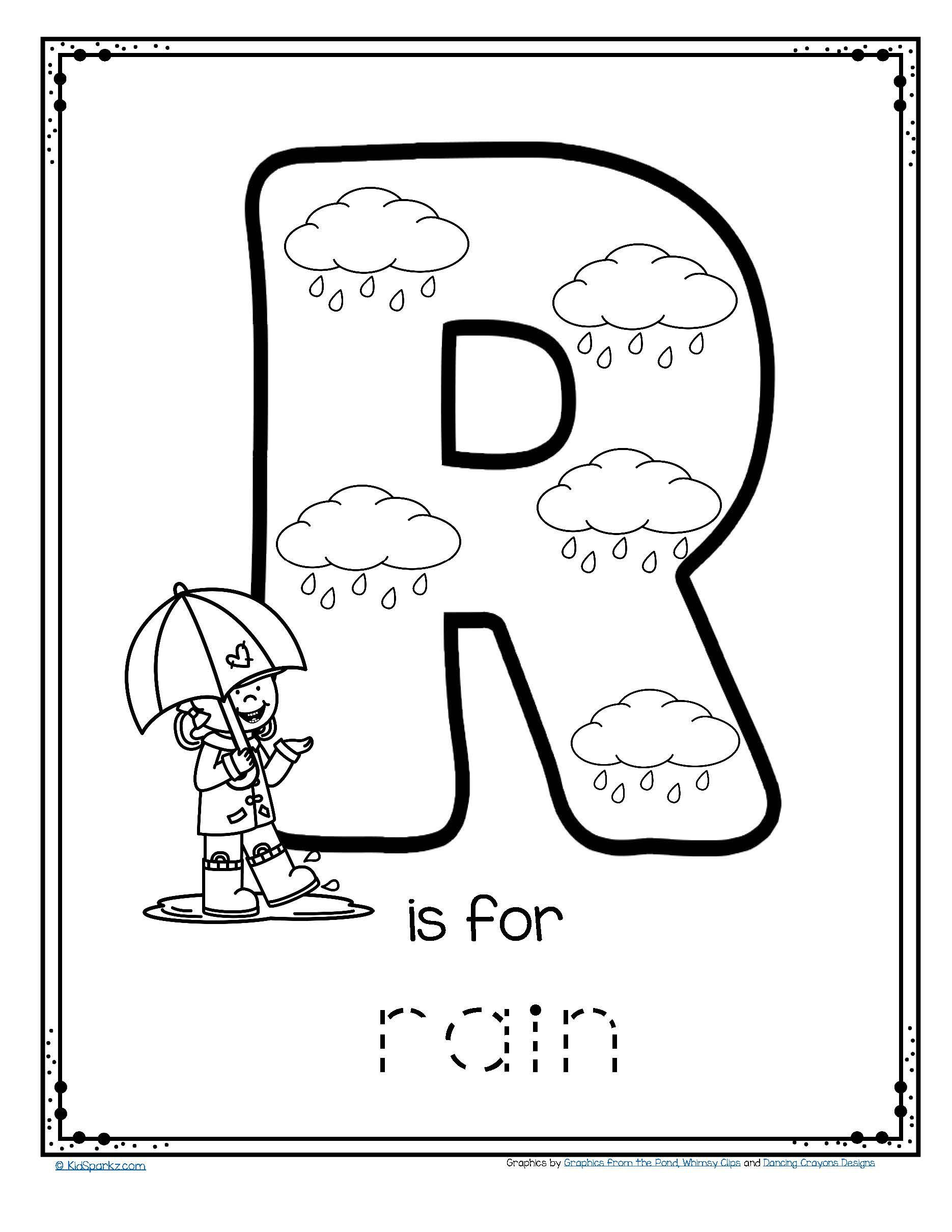 Preschool Letter R Worksheets Free R is for Rain Alphabet Trace and Color Printable