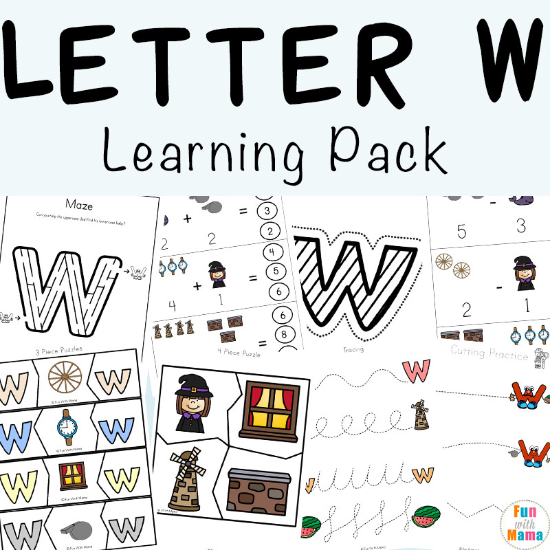 Preschool Letter W Worksheets Letter W Worksheets for Preschool Kindergarten Fun with Mama
