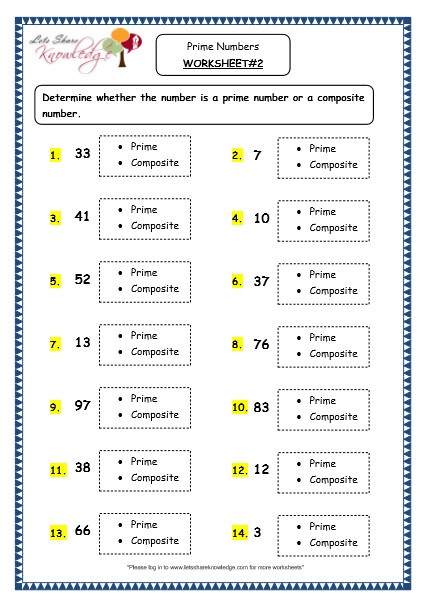 Prime and Composite Number Worksheet Grade 4 Maths Resources 1 11 Prime Numbers Printable