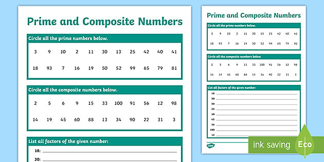 Prime and Composite Number Worksheet Prime and Posite Numbers Worksheet Teacher Made
