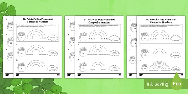 Prime and Composite Number Worksheet St Patrick S Day Prime and Posite Activity