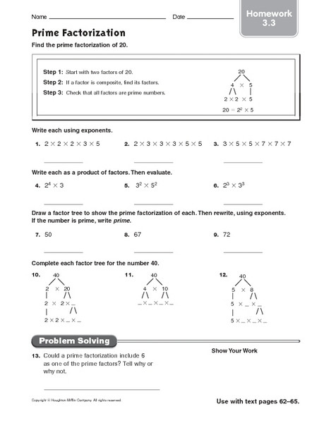 Prime Composite Numbers Worksheet Prime Factorization Homework 3 3 Worksheet for 4th 5th
