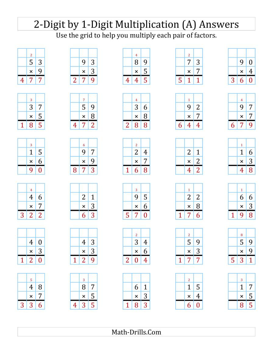 Printable 2 Digit Multiplication Worksheets 2 Digit by 1 Digit Multiplication with Grid Support A