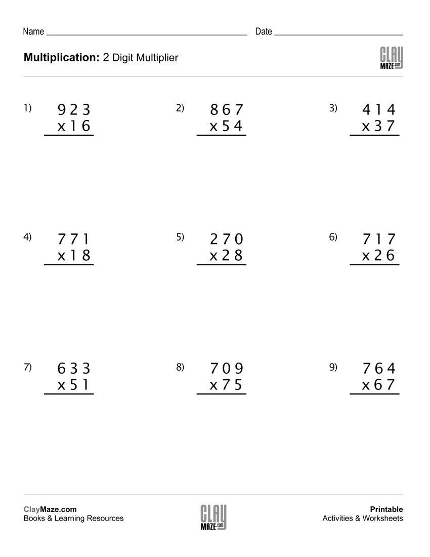 Printable 2 Digit Multiplication Worksheets Math Worksheet Multiplication with 2 Digit Multipliers