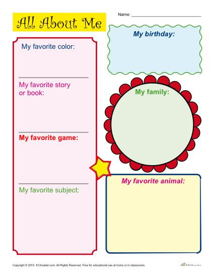 Printable All About Me Worksheets Printable Back to School All About Me Activity