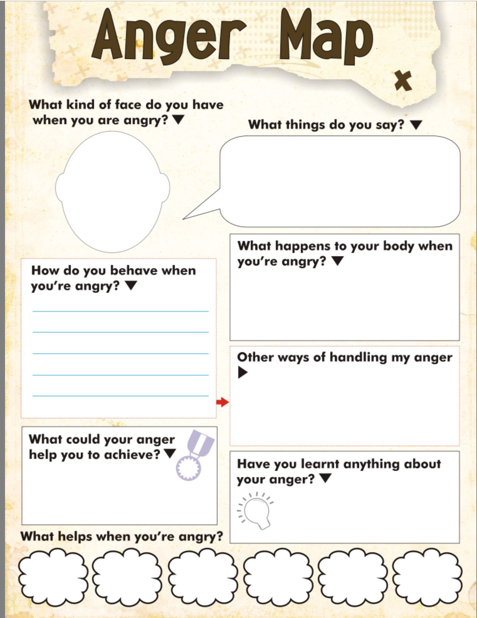 Printable Anger Management Worksheets Anger Map Kids Worksheet Free Printable