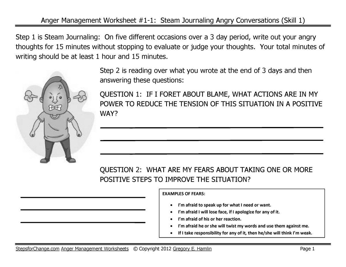 Printable Anger Management Worksheets Christian Anger Management Worksheets