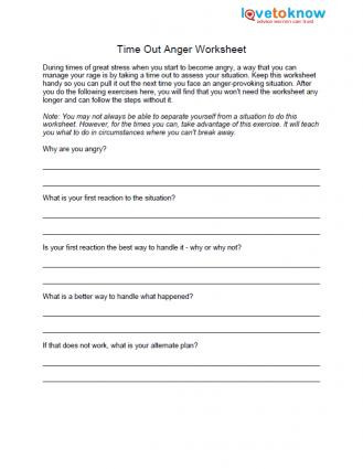 Printable Anger Management Worksheets Free Anger Worksheets