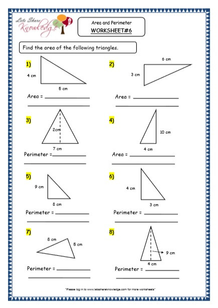 Printable area and Perimeter Worksheets Grade 4 Maths Resources 8 3 Geometry area and Perimeter