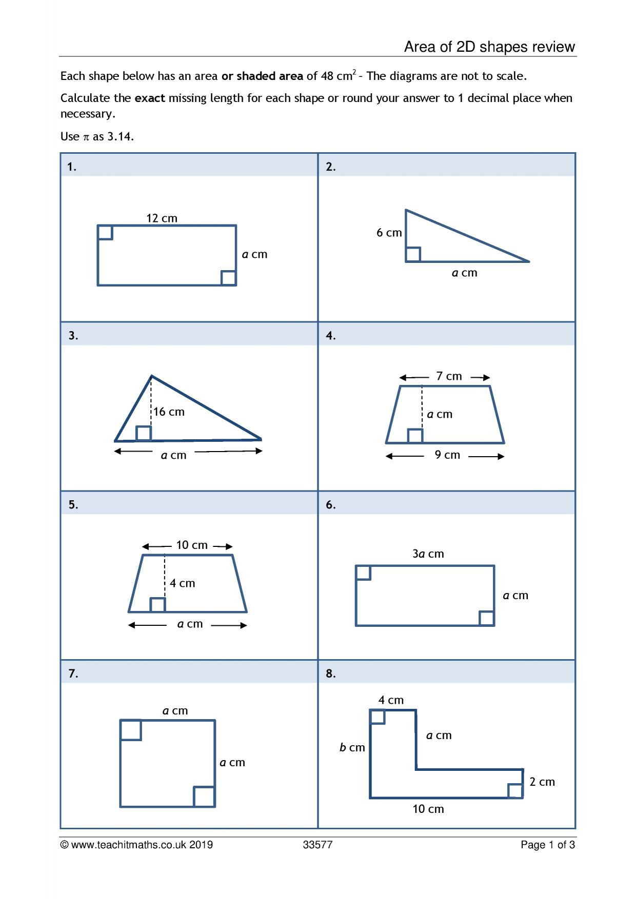 Printable area and Perimeter Worksheets Ks3 area and Perimeter Polygons Teachit Maths Worksheets