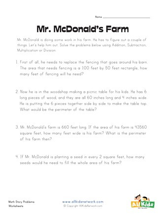 Printable area and Perimeter Worksheets Mr Mcdonald S Farm area and Perimeter Worksheet