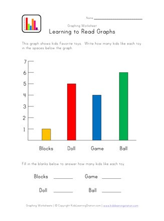 Printable Bar Graph Worksheets Bar Graph Worksheet with toys theme