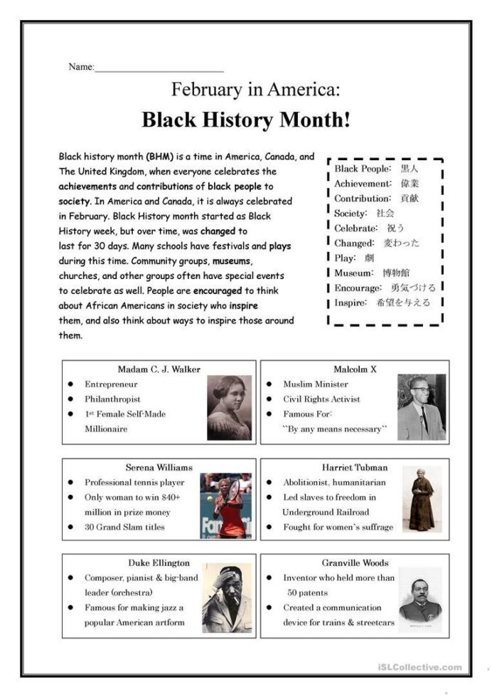 Printable Black History Worksheets Black History Month with Worksheets Ancient Science