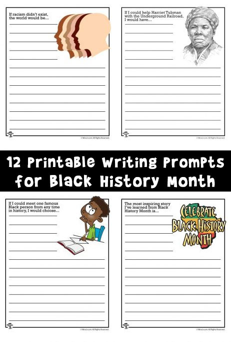 Printable Black History Worksheets Writing Prompt Worksheets for Black History Month