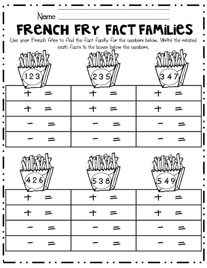 Printable Fact Family Worksheets Fact Family Numbers Worksheets
