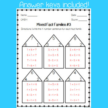 Printable Fact Family Worksheets Fact Family Worksheets Digital & Paper Versions Distance Learning 1st Grade