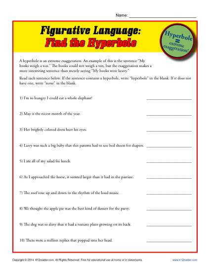 Printable Figurative Language Worksheets Figurative Language Find the Hyperbole