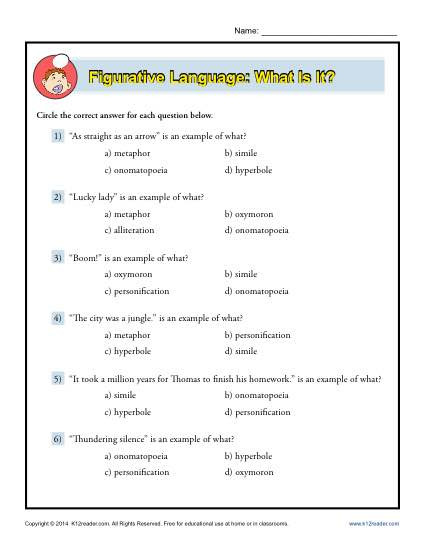 Printable Figurative Language Worksheets Figurative Language What is It