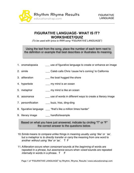 Printable Figurative Language Worksheets Printable Figurative Language Worksheets