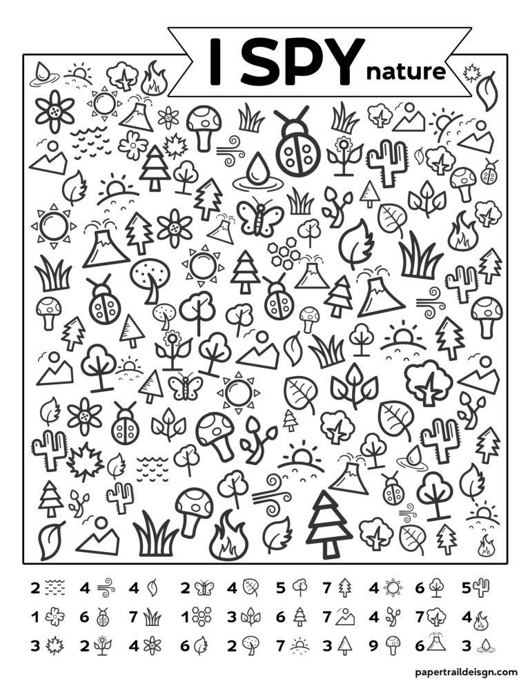 Printable I Spy Worksheets Free Printable I Spy Nature Game