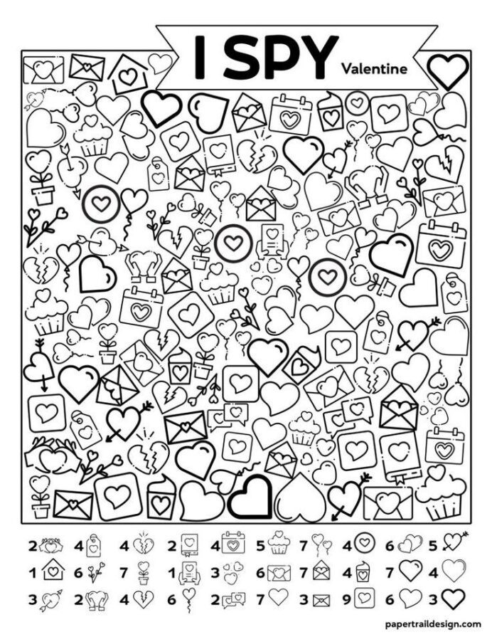 Printable I Spy Worksheets Free Printable Valentine Spy Activity In Christmas