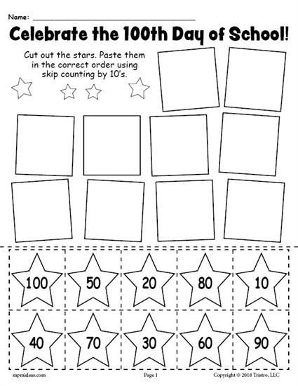 Printable Skip Counting Worksheets Free Printable 100th Day Of School Skip Counting Worksheet