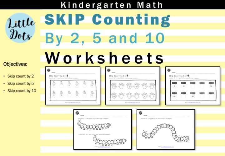 Printable Skip Counting Worksheets Skip Count by 2 5 and 10 Worksheets for Kindergarten to Grade 1