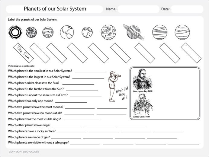 Printable solar System Worksheets Planets the solar System Worksheet Studyladder