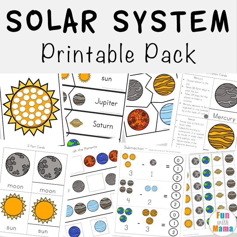 Printable solar System Worksheets solar System Printable Worksheets and Activities Pack Fun