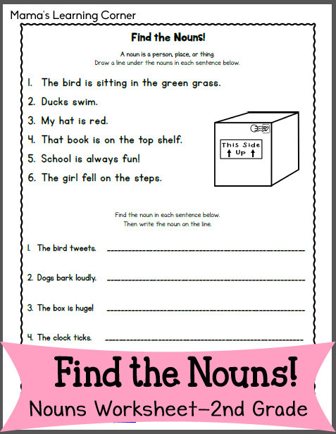 Printable Worksheet On Nouns Find the Nouns Worksheet for 2nd Grade Mamas Learning Corner