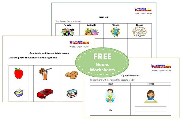 Printable Worksheet On Nouns Free Nouns Worksheets for First Grade — the Filipino