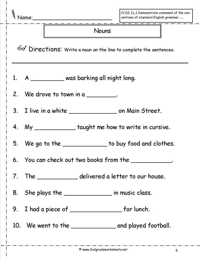 Printable Worksheet On Nouns Free Worksheets A and An Worksheets Free area Worksheets