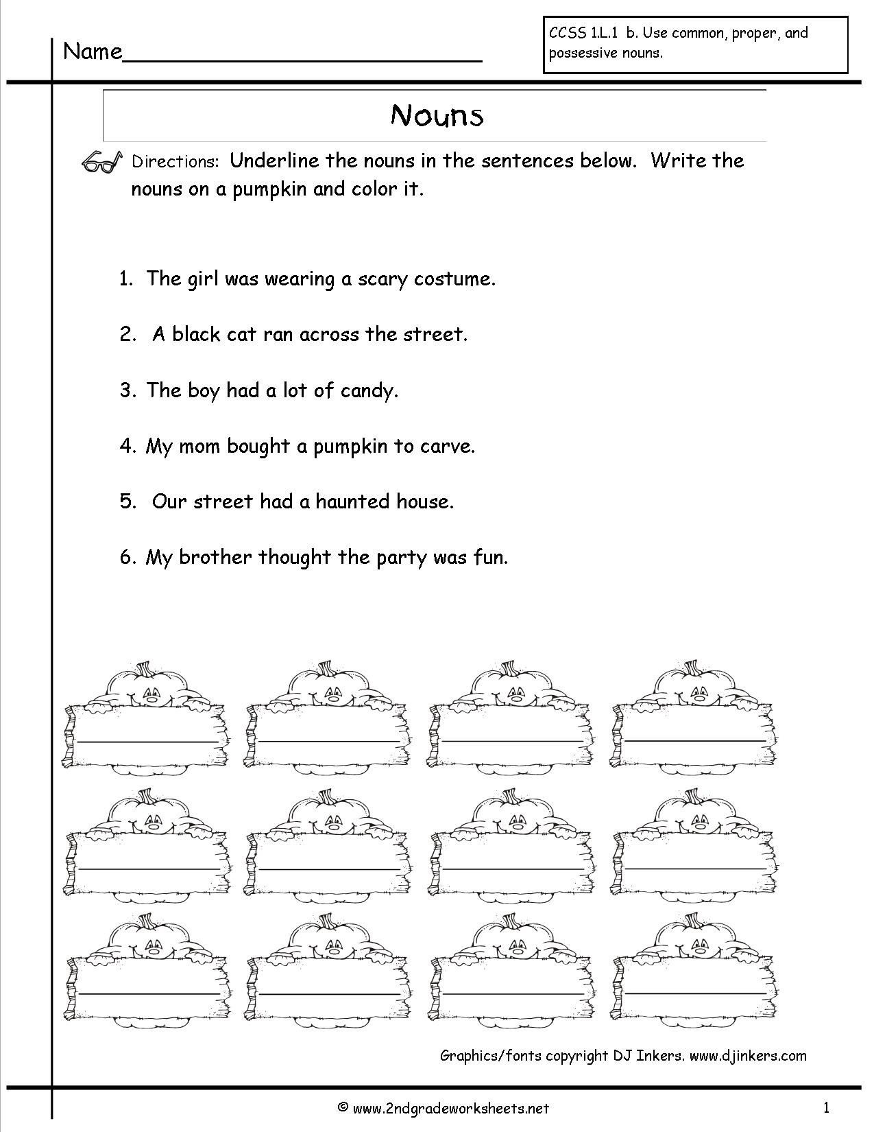 Printable Worksheet On Nouns Nouns Worksheets and Printouts First Grade Noun
