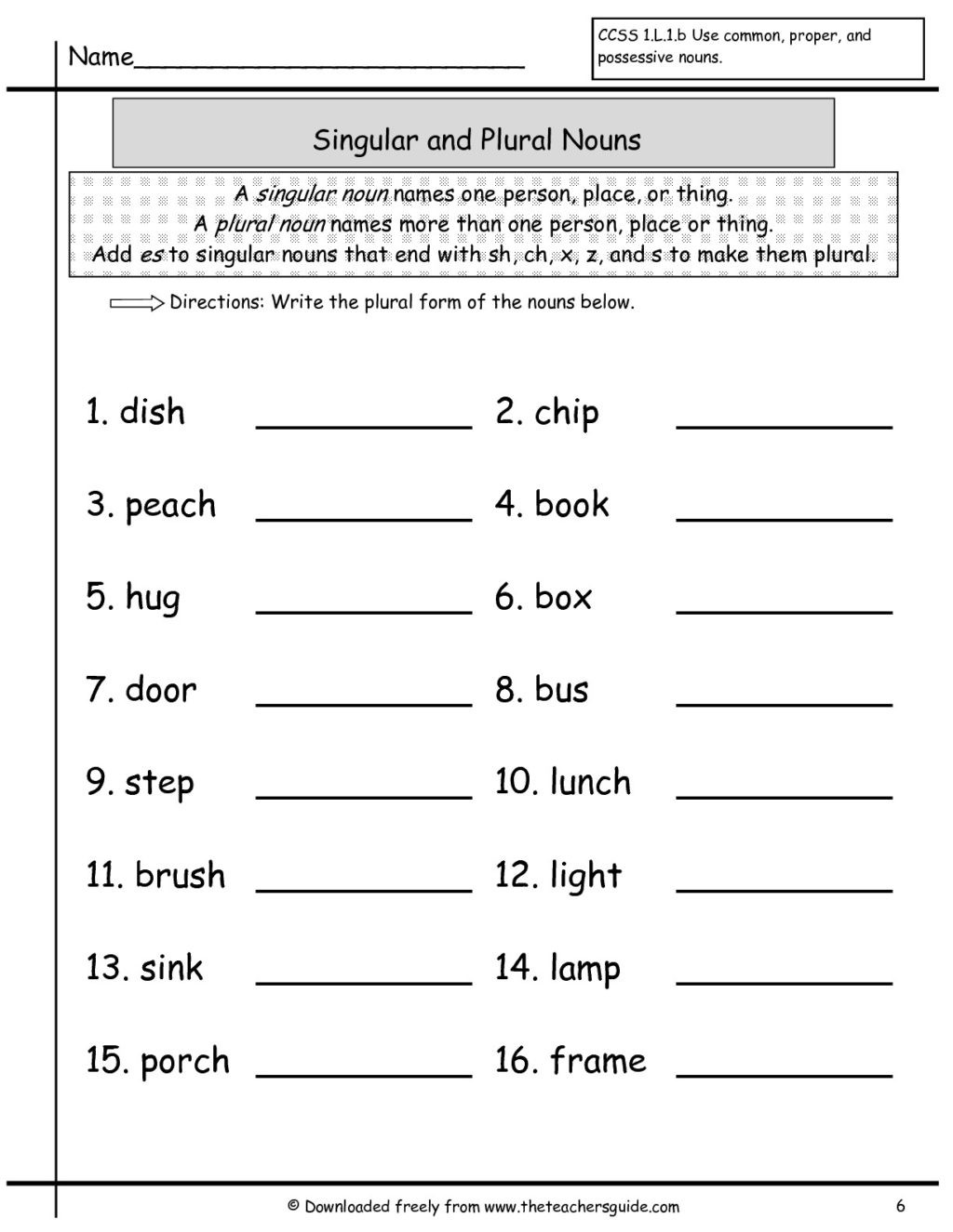 Printable Worksheet On Nouns Worksheet Plural Nouns Worksheets 1st Grade