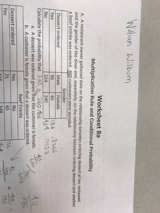 willian wilbum worksheet 8a multiplication rule conditional probability restaurant owner q