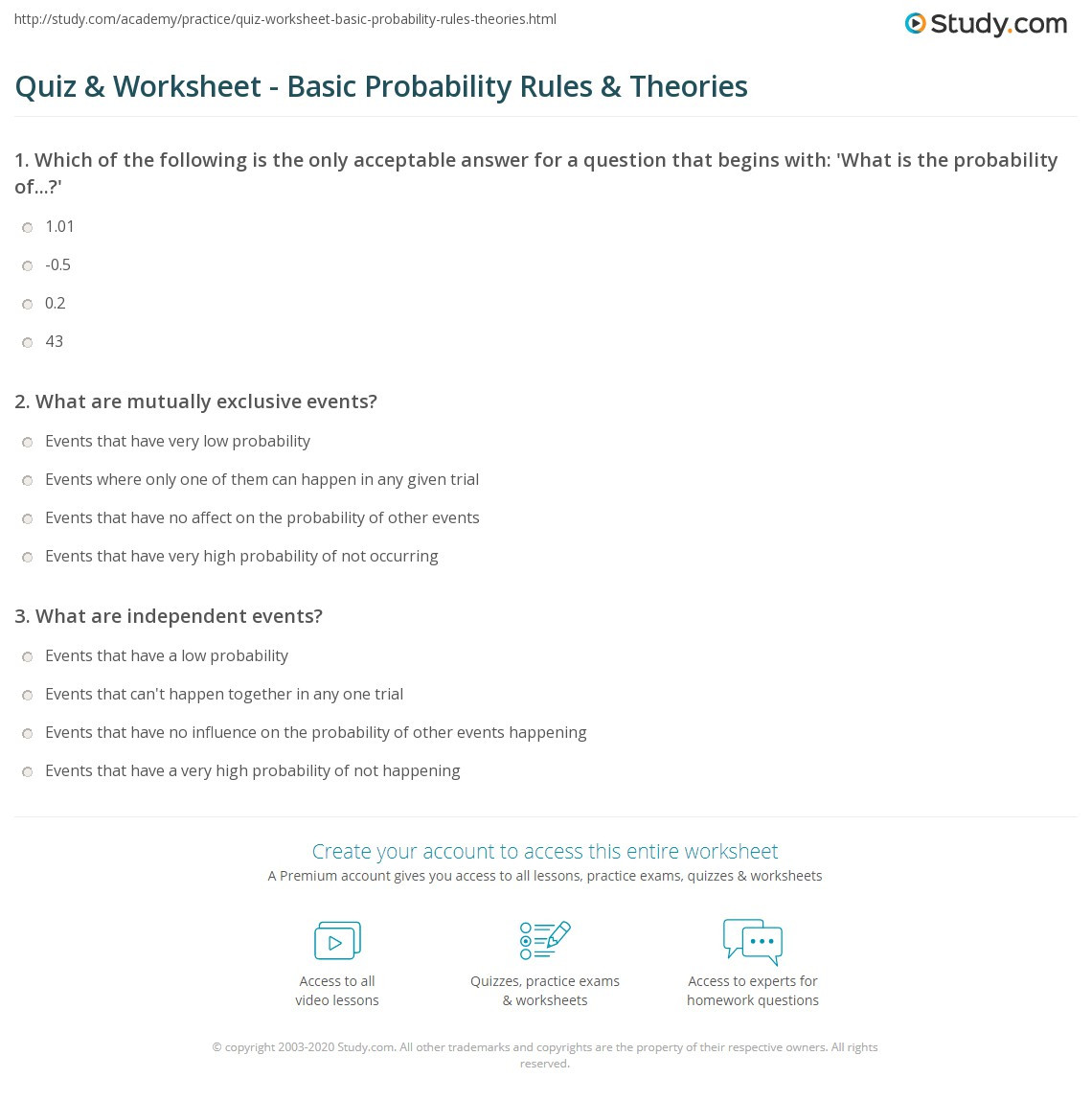 quiz worksheet basic probability rules theories