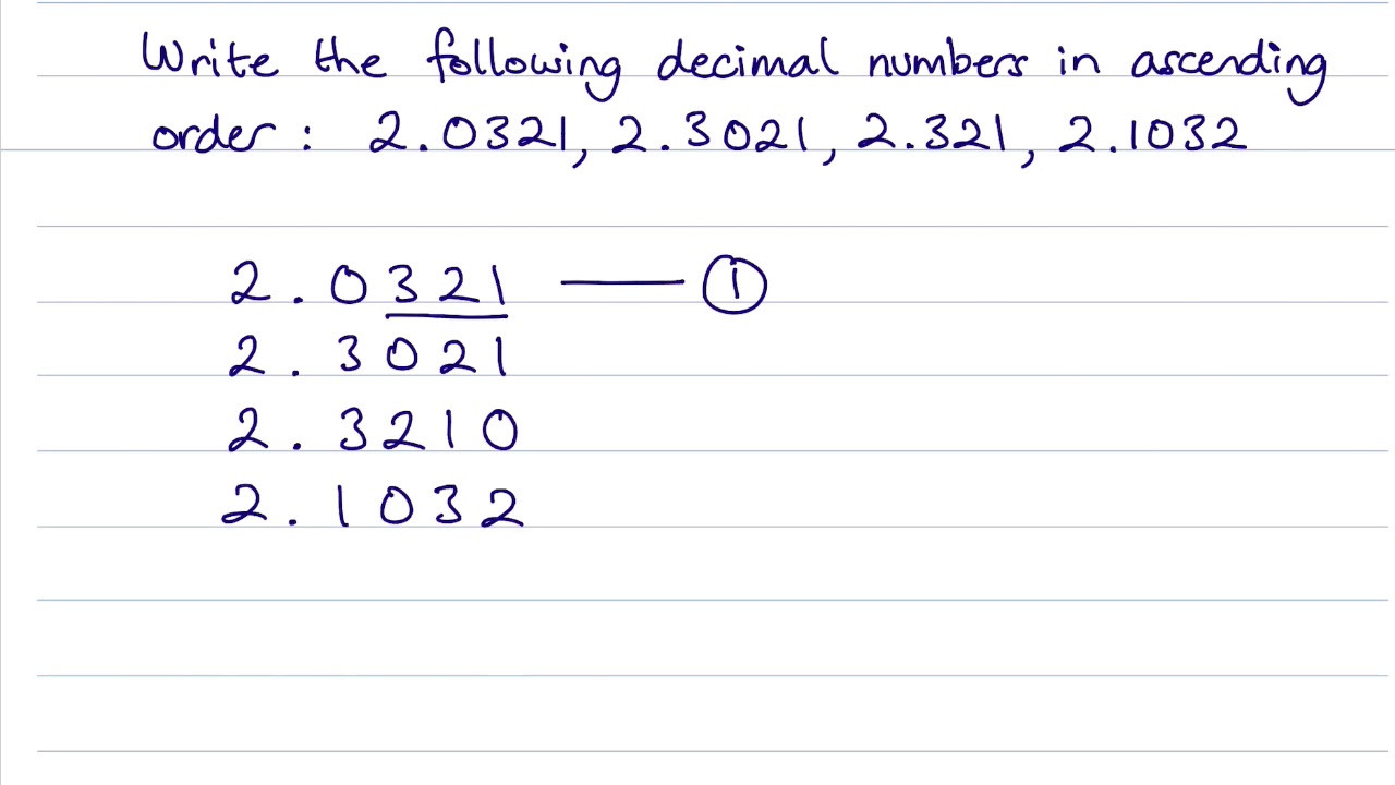 Putting Numbers In order Worksheets How to Write Decimal Numbers In ascending order