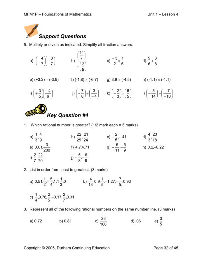 Rational Numbers Worksheet 7th Grade Grade Math Worksheets Printable and Activities for Applied