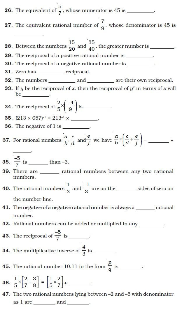Rational Numbers Worksheet 7th Grade Important Questions for Maths Rational Numbers with Ncert